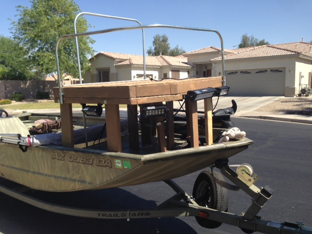 Bowfishing deck 1st try fishing for Bow fishing platform