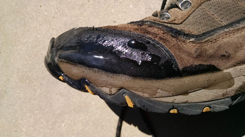Repairing hiking boot ...