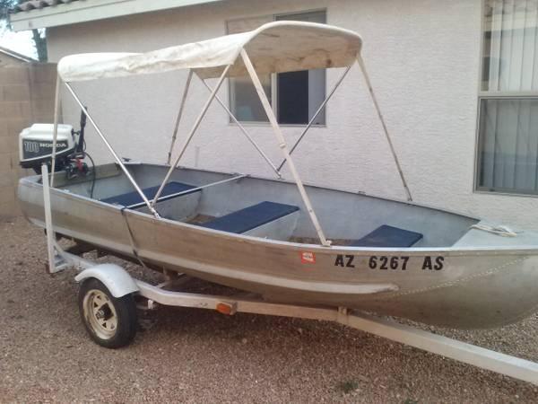 12 ft aluminum boat w/trailor and 10h 4 stroke honda motor ...