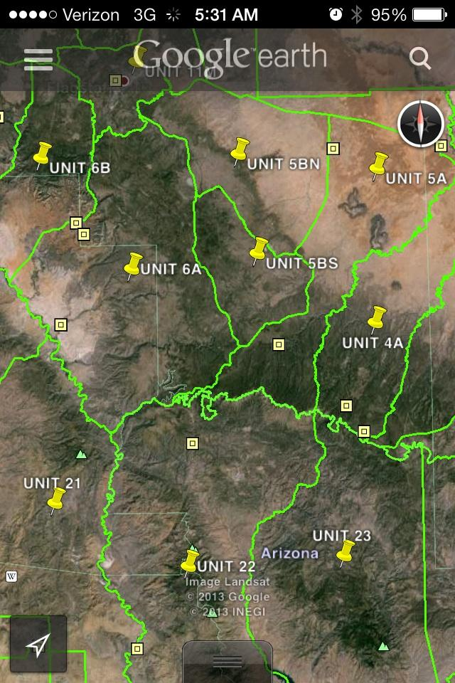 Map Of Unit 23 Arizona.Az Gmu In Kmz Or Gpx Format Coues Deer Hunting In Arizona