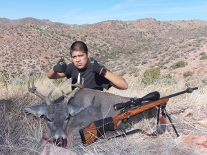 Tapija Martin and his coues from the San Carlos Apache Rez 340 yard shot