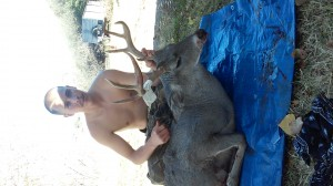 Another picture of my buck, sorry for no shirt was soaked in blood and had to remove to get to our destination. 3X3 az whitetail. Has 3 extra eye guards on right side and 2 eztra in left